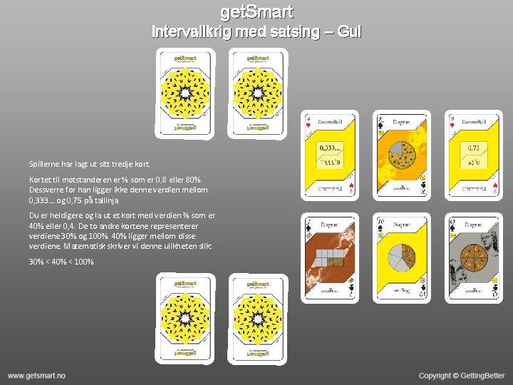 get. Smart Intervallkrig med satsing – Gul Spillerne har lagt ut sitt tredje kort.