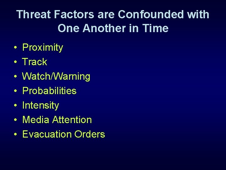 Threat Factors are Confounded with One Another in Time • • Proximity Track Watch/Warning