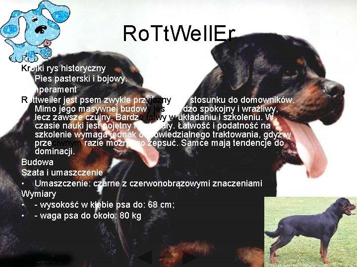 Ro. Tt. We. Il. Er Krótki rys historyczny • Pies pasterski i bojowy. Temperament