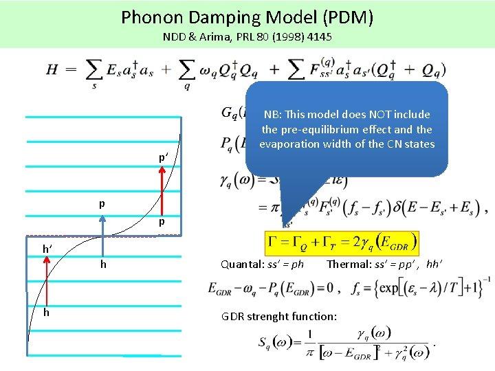 Phonon Damping Model (PDM) NDD & Arima, PRL 80 (1998) 4145 p' NB: This