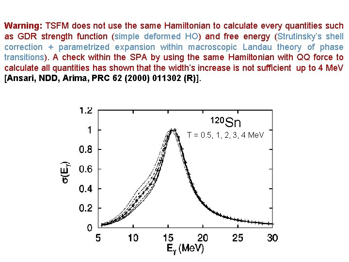 Warning: TSFM does not use the same Hamiltonian to calculate every quantities such as