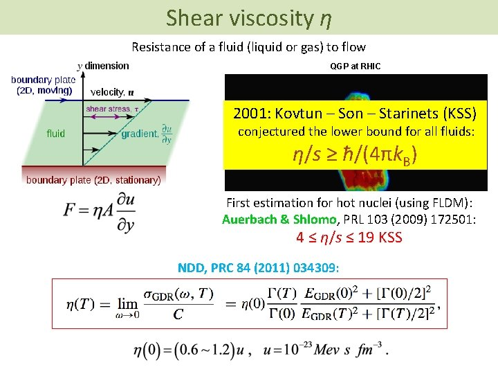 Shear viscosity η Resistance of a fluid (liquid or gas) to flow QGP at