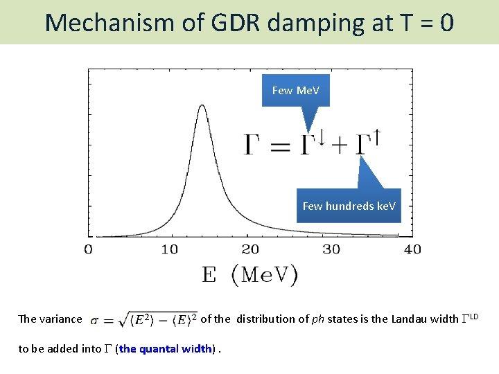 Mechanism of GDR damping at T = 0 Few Me. V Few hundreds ke.