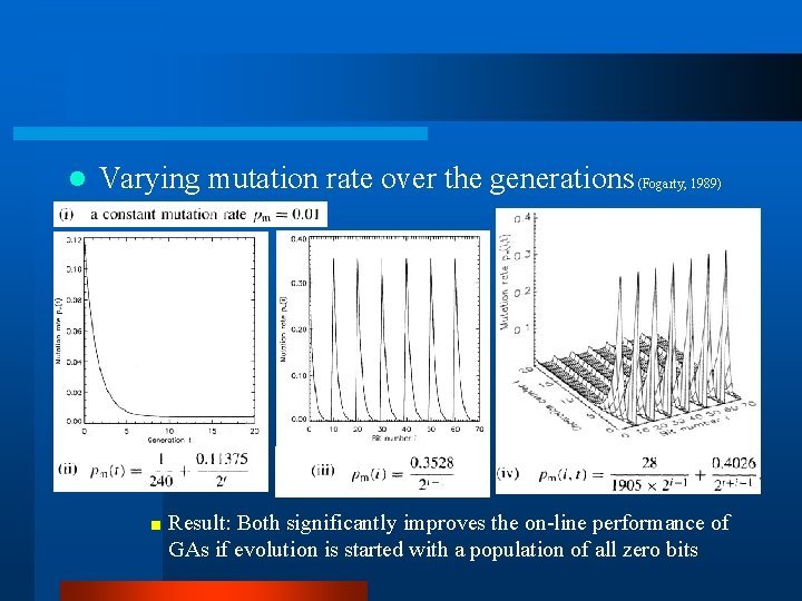 l Varying mutation rate over the generations (Fogarty, 1989) < Result: Both significantly improves