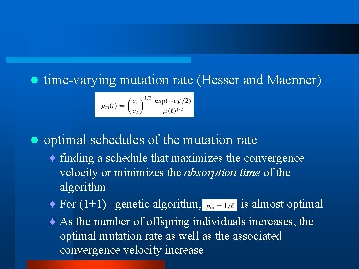 l time-varying mutation rate (Hesser and Maenner) l optimal schedules of the mutation rate
