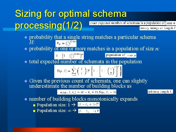 Sizing for optimal schema processing(1/2) ¨ probability that a single string matches a particular