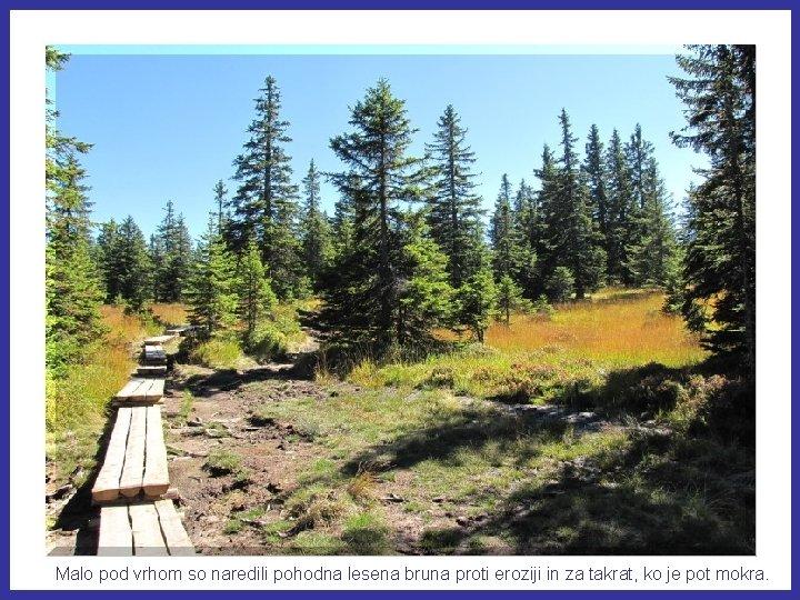 Malo pod vrhom so naredili pohodna lesena bruna proti eroziji in za takrat, ko