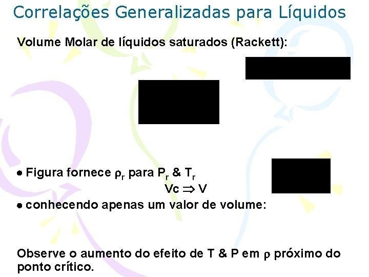 Correlações Generalizadas para Líquidos Volume Molar de líquidos saturados (Rackett): Figura fornece r para