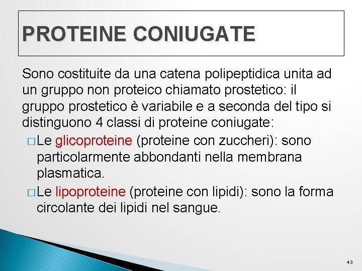 PROTEINE CONIUGATE Sono costituite da una catena polipeptidica unita ad un gruppo non proteico