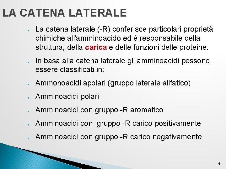 LA CATENA LATERALE ● ● La catena laterale (-R) conferisce particolari proprietà chimiche all'amminoacido
