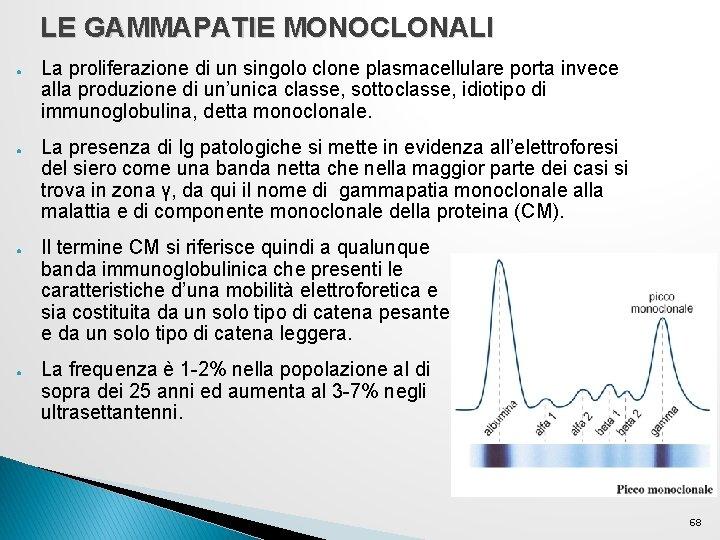 LE GAMMAPATIE MONOCLONALI ● ● La proliferazione di un singolo clone plasmacellulare porta invece