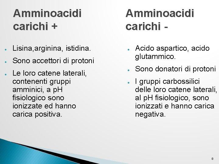 Amminoacidi carichi + ● Lisina, arginina, istidina. ● Sono accettori di protoni ● Le