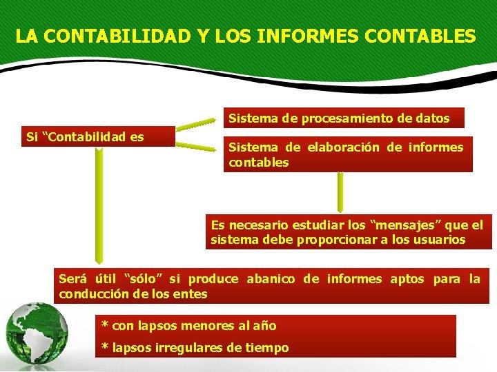 """LA CONTABILIDAD Y LOS INFORMES CONTABLES Sistema de procesamiento de datos Si """"Contabilidad es"""