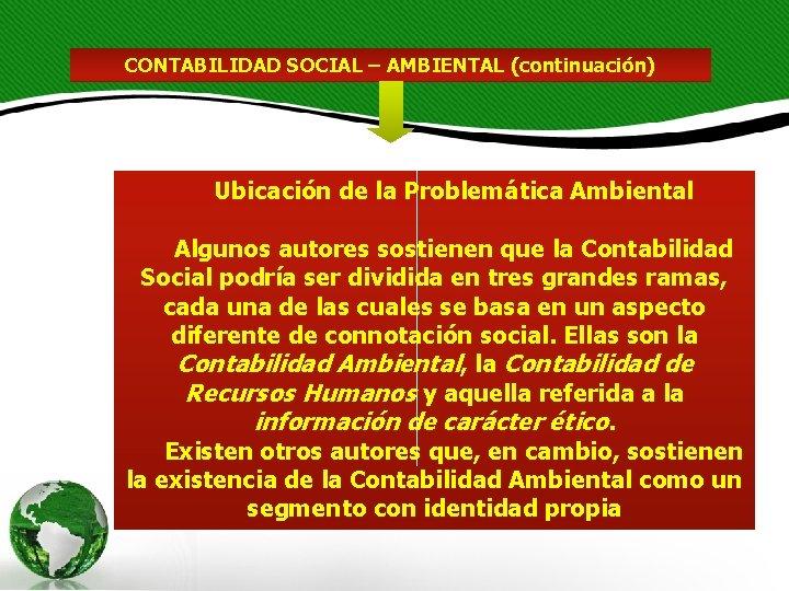 CONTABILIDAD SOCIAL – AMBIENTAL (continuación) Ubicación de la Problemática Ambiental Algunos autores sostienen que