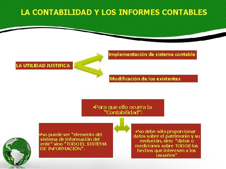 LA CONTABILIDAD Y LOS INFORMES CONTABLES Implementación de sistema contable LA UTILIDAD JUSTIFICA Modificación