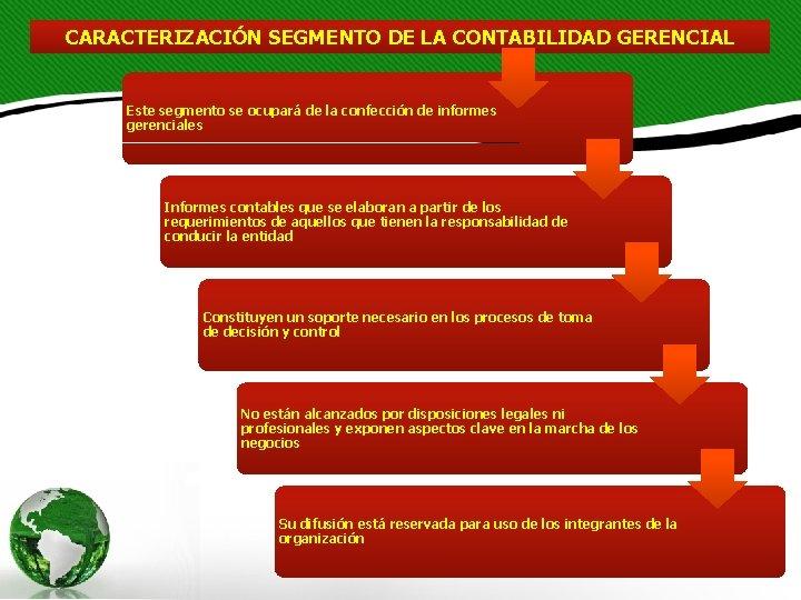 CARACTERIZACIÓN SEGMENTO DE LA CONTABILIDAD GERENCIAL Este segmento se ocupará de la confección de