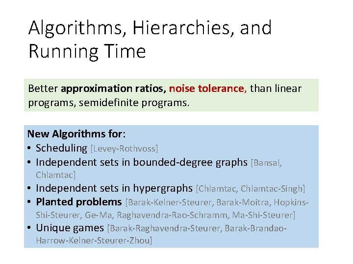 Algorithms, Hierarchies, and Running Time Better approximation ratios, noise tolerance, than linear programs, semidefinite
