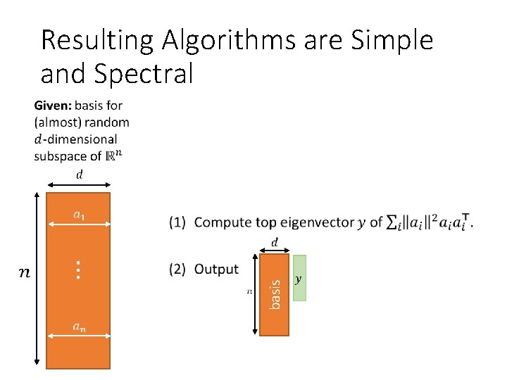 Resulting Algorithms are Simple and Spectral basis