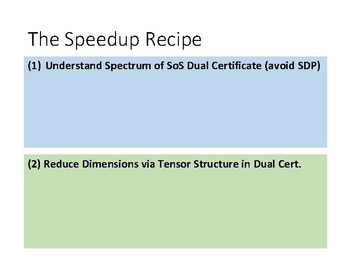 The Speedup Recipe (1) Understand Spectrum of So. S Dual Certificate (avoid SDP) (2)