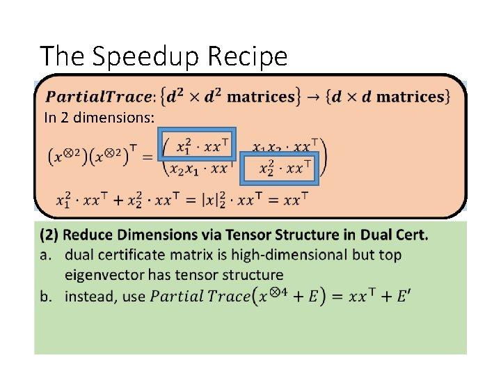 The Speedup Recipe Understand Spectrum of So. S Dual Certificate (1) In 2 dimensions: