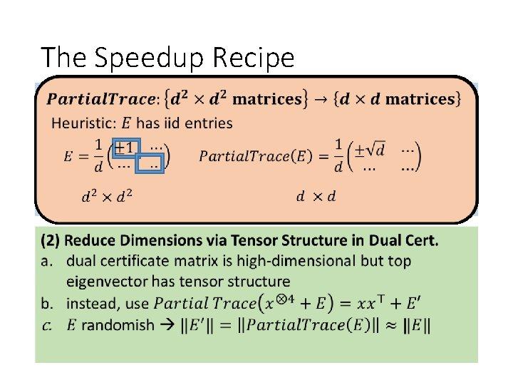 The Speedup Recipe Understand Spectrum of So. S Dual Certificate (1) the result: a