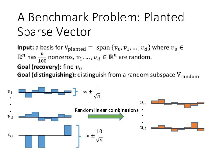 A Benchmark Problem: Planted Sparse Vector • . . . Random linear combinations. .