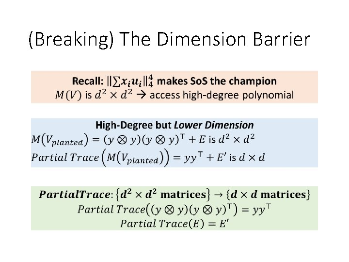 (Breaking) The Dimension Barrier