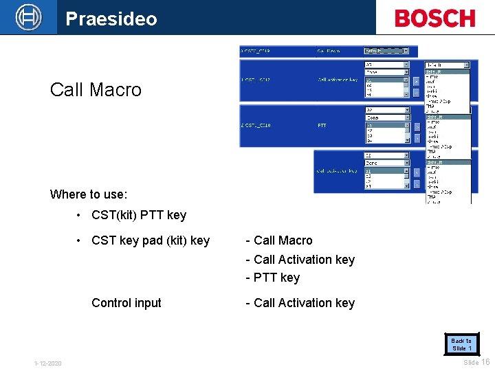 Praesideo Call Macro Where to use: • CST(kit) PTT key • CST key pad