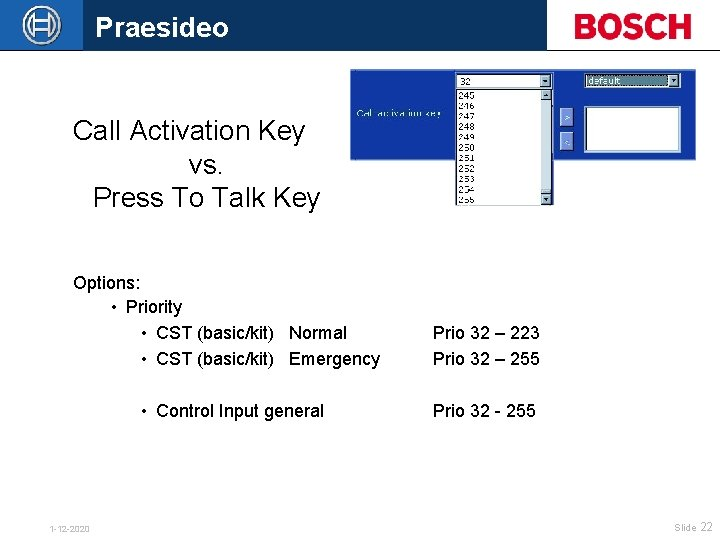 Praesideo Call Activation Key vs. Press To Talk Key Options: • Priority • CST