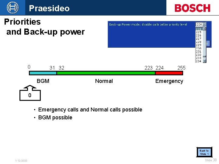 Praesideo Priorities and Back-up power 0 31 32 BGM 223 224 Normal 255 Emergency