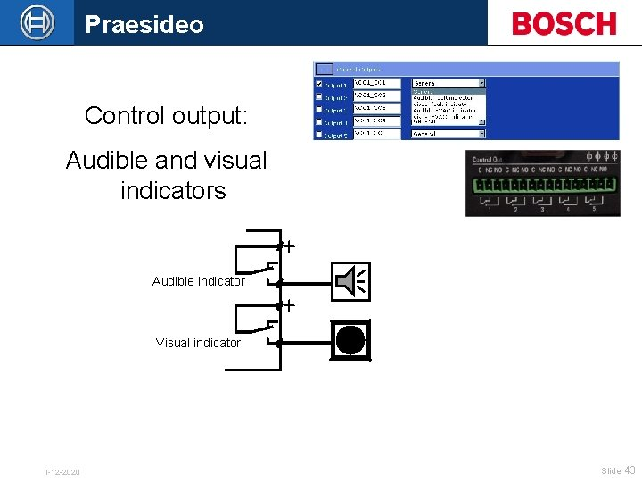 Praesideo Control output: Audible and visual indicators Audible indicator Visual indicator 1 -12 -2020