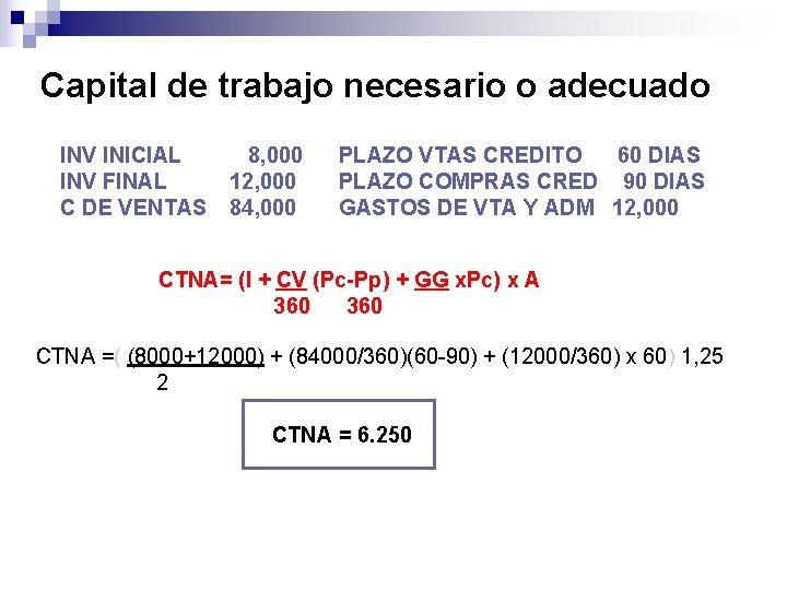 Capital de trabajo necesario o adecuado INV INICIAL INV FINAL C DE VENTAS 8,