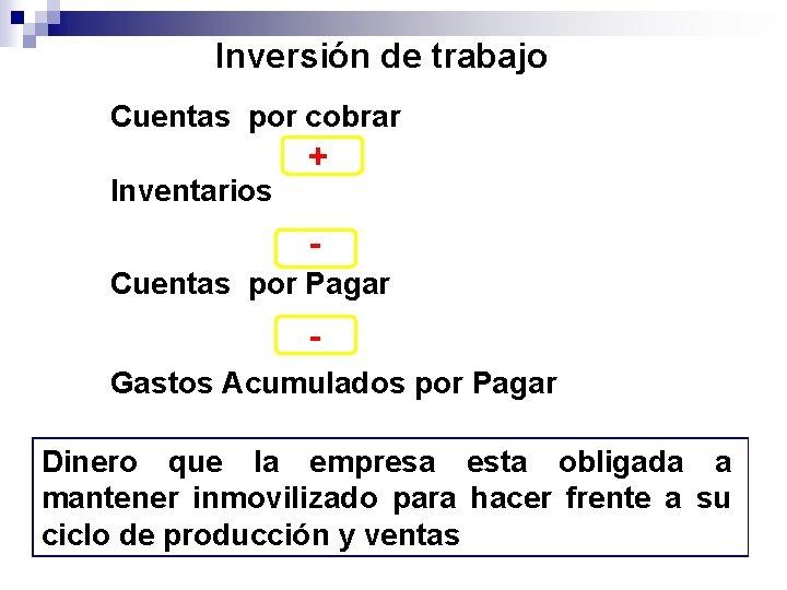 Inversión de trabajo Cuentas por cobrar Inventarios + - Cuentas por Pagar Gastos Acumulados
