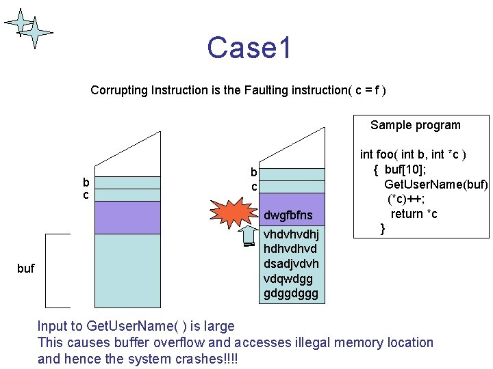 Case 1 Corrupting Instruction is the Faulting instruction( c = f ) Sample program