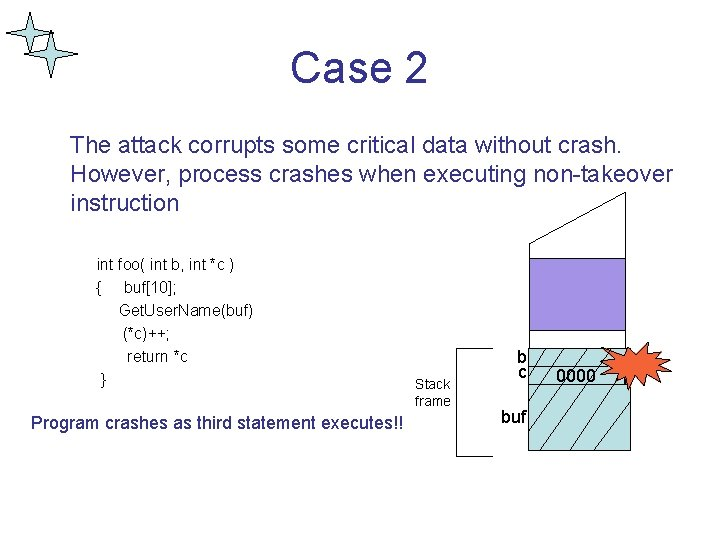 Case 2 The attack corrupts some critical data without crash. However, process crashes when