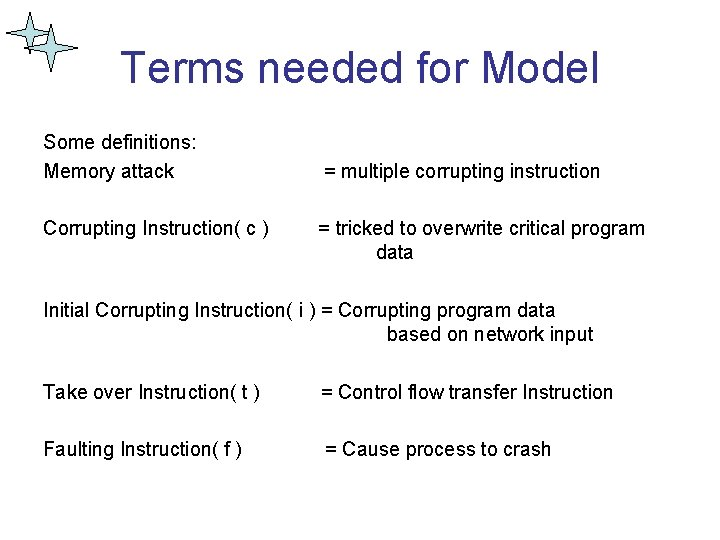 Terms needed for Model Some definitions: Memory attack Corrupting Instruction( c ) = multiple