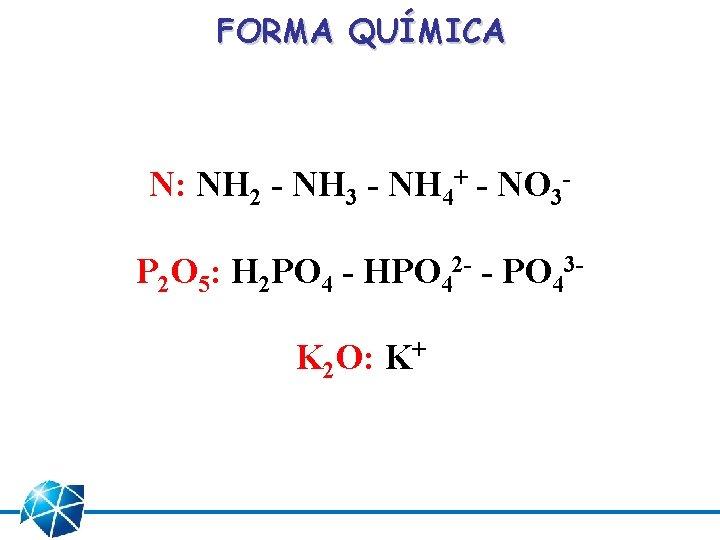 FORMA QUÍMICA N: NH 2 - NH 3 - NH 4+ - NO 3