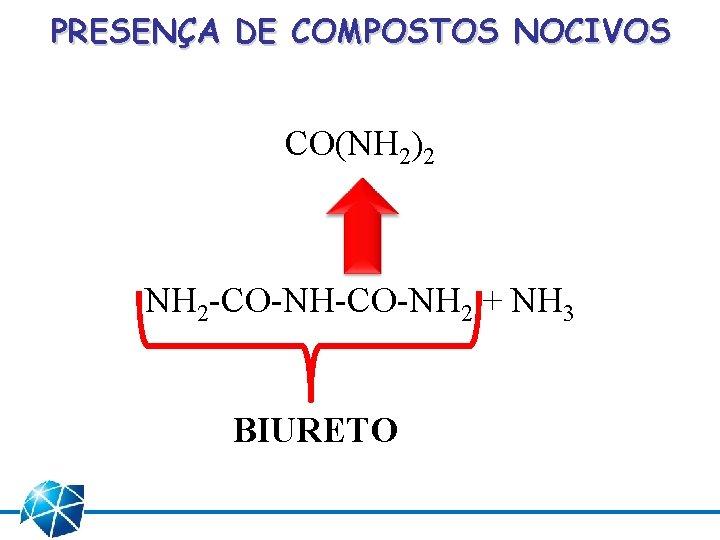 PRESENÇA DE COMPOSTOS NOCIVOS CO(NH 2)2 NH 2 -CO-NH 2 + NH 3 BIURETO