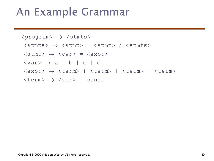 An Example Grammar <program> <stmts> <stmt> | <stmt> ; <stmts> <stmt> <var> = <expr>