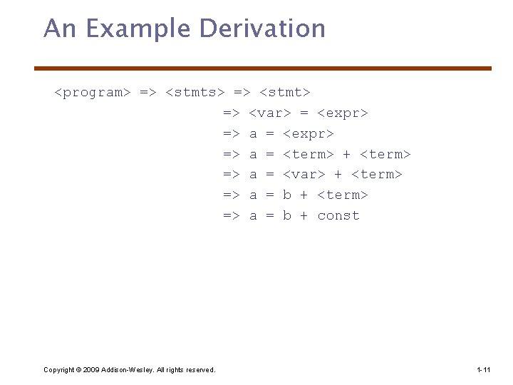 An Example Derivation <program> => <stmts> => <stmt> => <var> = <expr> => a
