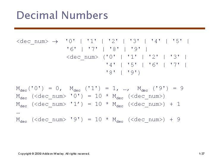 Decimal Numbers <dec_num> '0' | '1' | '2' | '3' | '4' | '5'
