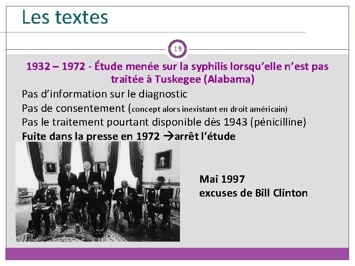 Les textes 19 1932 – 1972 - Étude menée sur la syphilis lorsqu'elle n'est