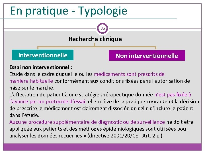 En pratique - Typologie 35 Recherche clinique Interventionnelle Non interventionnelle Essai non interventionnel :