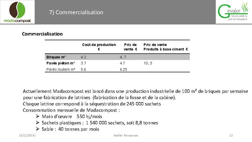 7) Commercialisation Coût de production € Prix de vente € Briques m² 4. 2