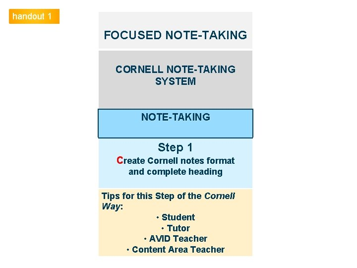 handout 1 FOCUSED NOTE-TAKING CORNELL NOTE-TAKING SYSTEM NOTE-TAKING Step 1 Create Cornell notes format