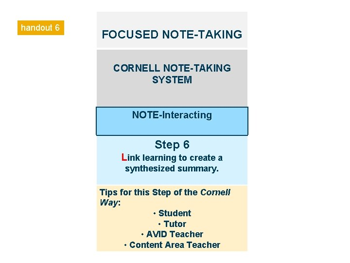 handout 6 FOCUSED NOTE-TAKING CORNELL NOTE-TAKING SYSTEM NOTE-Interacting Step 6 Link learning to create