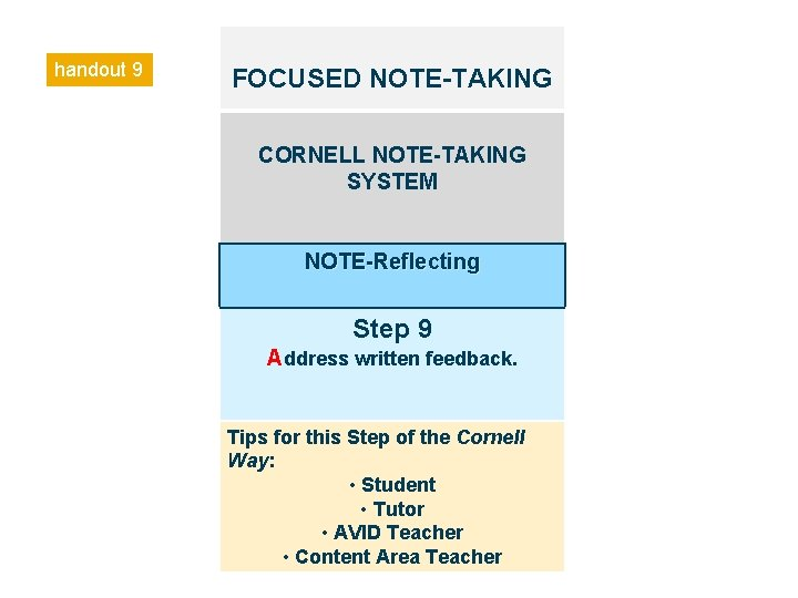 handout 9 FOCUSED NOTE-TAKING CORNELL NOTE-TAKING SYSTEM NOTE-Reflecting Step 9 Address written feedback. Tips
