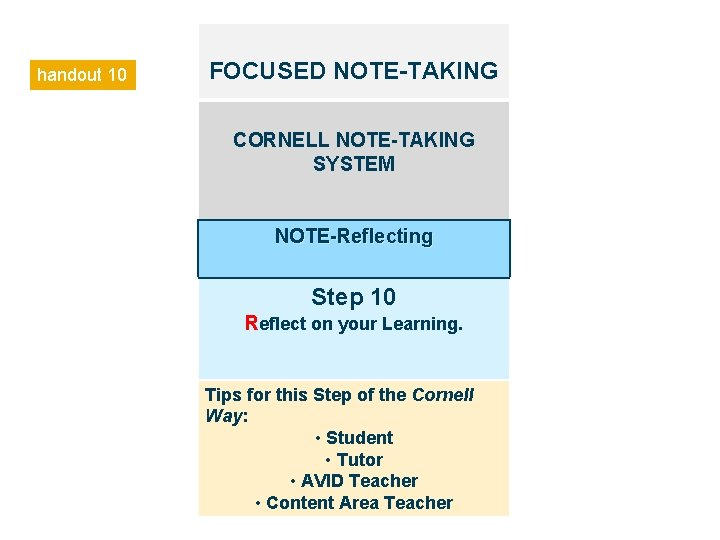 handout 10 FOCUSED NOTE-TAKING CORNELL NOTE-TAKING SYSTEM NOTE-Reflecting Step 10 Reflect on your Learning.
