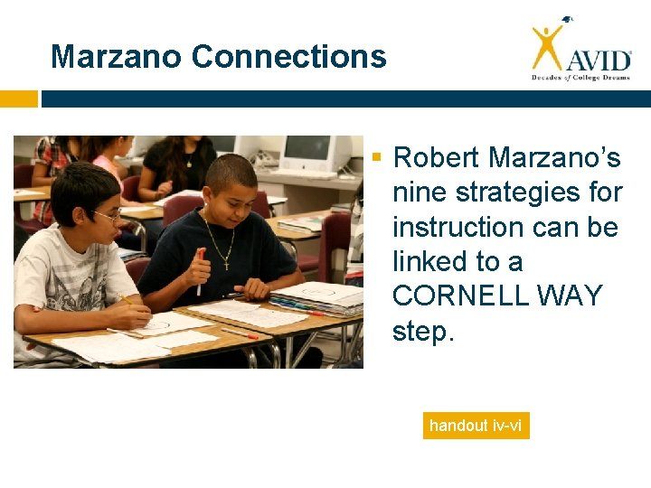 Marzano Connections § Robert Marzano's nine strategies for instruction can be linked to a