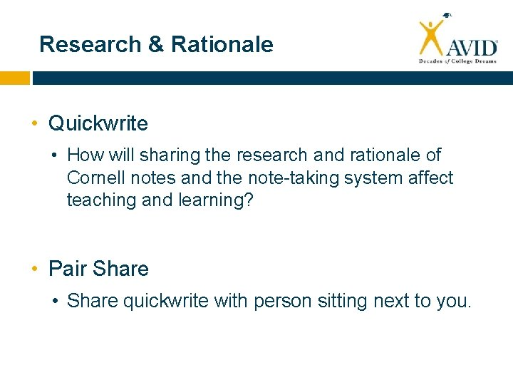 Research & Rationale • Quickwrite • How will sharing the research and rationale of